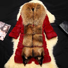 Women's Coat Rabbit Fur Coat with Real Fur Collar and Placket Winter Outwear