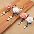 Rose Alloy Ceramic Cabinet Knobs Cupboard Kitchen Drawer Pulls Handles Home DIY