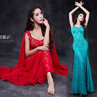 New 2017 Women Lace Imitation Silk Belly Dance Costume Long Dress Skirt M L