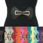Classy WOMEN ELASTIC Faux Leather WIDE Gold Metal Bow BELT stretch Waist S M L