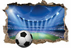 FOOTBALL STADIUM 3D SMASHED HOLE IN WALL STICKER ART DECAL