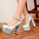Sexy Womens Platform High Block Heel Sequins Ankle Strap Wedding Party Shoes Sz