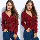 Women's Turn Down Collar Long Sleeve Plaid Belted Button Down Short Shirt Tops