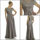 Short Sleeve Gray Mother Of The Bride Dress A Line Plus Size Evening Gowns HD138