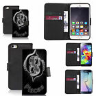 faux leather wallet case for many Mobile phones - black pisces