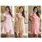 MASALING Girls Ladies Women Summer Silk Nightgown Smooth Ultra-thin Sleepwear