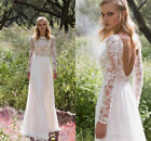 Lace Long Sleeve Beach Wedding Dresses A Line Simple Bridal Gown Plus Size HD158