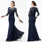 3/4 Sleeve Mother Of The Bride Dresses Long Plus Size Evening Party Gowns HD185
