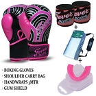 Boxing Sparring Gloves Gum Sheild Hand Wraps Carry Bag 10oz, 12oz Package Pink