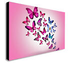 BUTTERFLIES COLOURFUL ABSTRACT PINK Canvas Wall Art framed Print. Various Sizes