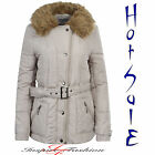 NEW LADIES WOMENS QUILTED PADDED FUR COLLAR BUTTON ZIP JACKET COAT PLUS SIZE