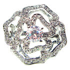 (SIZE 6,7,8,9) WINTER FLOWER Cocktail RING Large CZ Stone .925 STERLING SILVER