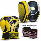 Professional Boxing Sparring Gloves Punch Bag Focus Pads Hook and Jab MMA Yellow