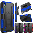 Hybrid Rubber Armor Holster Belt Clip Case Cover for LG X power US610/K450/LS755