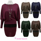 NEW LADIES BATWING SLEEVE WOMENS JUMPER DRESS TOP WITH NECKLACE SIZE 8-14
