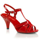 PLEASER FABULICIOUS Belle-322 Red Patent T-Strap Drag Queen Ladies Sandals
