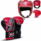 Boxing Sparring Gloves Punch Bag Mitts Headgear Head Guard Training Helmet Red