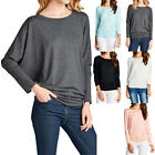 Dolman Long Sleeve Solid Round Neck Loose Fit Tunic Top Comfy Casual S M L