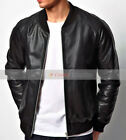 Men's Retro 70's Style Black 100% Genuine Leather DOOR SUPERVISOR Bomber JACKET