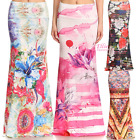 Floral Tribal Sublimation high waist fold over maxi long skirt S/M/L/XL