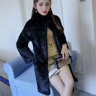Vuntage Real Farm Whole Rabbit Fur Coat Women Long Coat Jacket Overcoat Garment