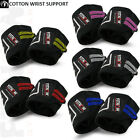 Weight Lifting Cotton Wrist Supports Bandage Straps Elasticated Gym Workout Pair