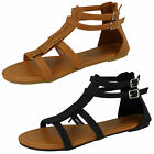 LADIES SPOT ON BLACK & TAN FRINGE GLADIATOR SANDAL WITH BACK ZIP STYLE - F0968