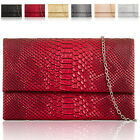 Croc Faux Leather Womens Clutch Bag Designer Evening Bag Must Have Prom UK New