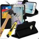 Black Carbon Fibre Leather Book Wallet Phone Case Cover+Glass Screen Protector
