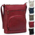 Ladies Faux Leather Flat College Womens Shoulder Bag Cross Body Strap Handbag UK