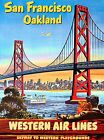San Francisco Oakland California Western Air Vintage Poster Print Travel