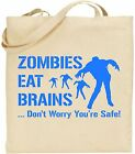 Zombies Eat Brains Large Cotton Tote Bag Apocalypse Halloween Shopping Xmas Gift