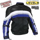 Men's Armored Black Blue Tri-Tex Fabric and Leather Trim Jacket