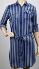 Ladies Womens Fashion Blue Striped Shirt Dress Belted Long Sleeve Shirt Dress