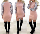 UK Ladies Womens Fashion Sequin Sleeve Sweatshirt Dress Sweater Dress Rose Pink