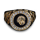 18k Yellow Gold Filled Classy Versace-Style Ring Size N P Q R U