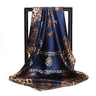 "Women's Navy Blue Leopard Soft Satin Square Scarf Print Head Shawl Wraps 35"" 35"""
