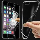 Clear TPU Gel Case Cover & Tempered Glass Screen Protector for Various Phones