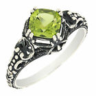 Antique Finished Sterling Silver Cushion Cut Genuine Peridot Filigree Ring R210P