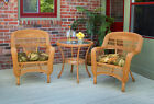 NEW Outdoor Patio Furniture 3 Piece Amber Wicker Bistro Dining Set with Cushions
