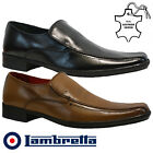 MENS LAMBRETTA REAL LEATHER CASUAL FORMAL SMART OFFICE WEDDING SLIP ON SHOES