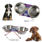 SMALL LARGE DOUBLE DINER METAL DOG CAT PET BOWL RABBIT FEEDER FOOD WATER DISH