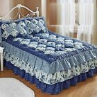Puff Top Quilted Bedspread Microfiber Cozy Floral Attached RuffleThree-tiered image