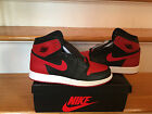 NIKE AIR JORDAN 1 RETRO BANNED BG GS BLACK RED WHITE SIZES 4Y-5.5Y