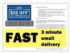 Two (2x) Lowes PRINTABLE-Coupons good for $50 off $250 Instant Email delivery