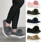 WOMENS LADIES FLAT SLIP ON POM POM CASUAL TRAINERS PUMPS LOAFERS PLIMSOLES SIZE