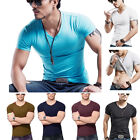 Fashion Men Slim Fit Cotton Tops T-Shirt Short Sleeve Casual V-Neck Tee Shirt
