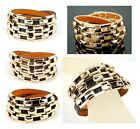Women Genuine Leather Wrap Bracelet Skinny Wristband Link Cuff Chain Bangle Lady