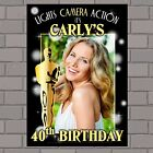 Personalised Gold Oscar Awards Happy Birthday PHOTO Poster Banner N130 ANY AGE