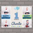 Personalised Boys Heart Balloons Happy Birthday Poster Banner N140 ANY AGE